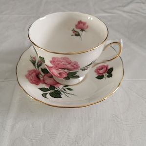 Queen Anne White Pink Roses Teacup & Saucer